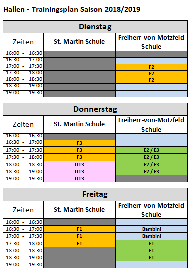 Trainingsplan Winter Halle 18 19